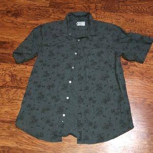 Men button up shirt rose design
